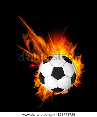 Soccer Ball on Fire. Illustration on black background - stock photo