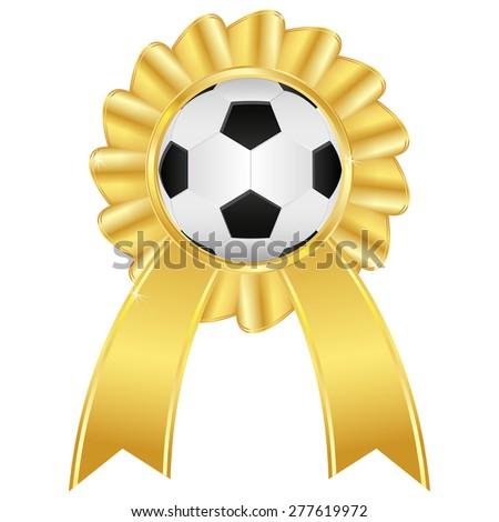 Soccer ball on golden award badge isolated on white background. Raster version - stock photo
