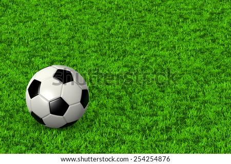 Soccer Ball on Grass Field Background 3D Illustration - stock photo