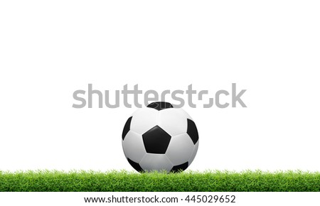 Soccer ball on green grass isolated on white background with clipping path.