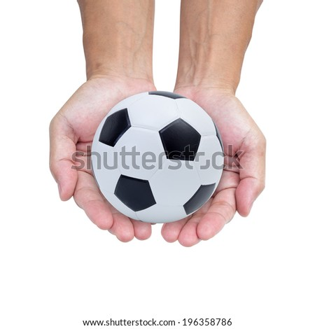 Soccer ball on hands isolated on white background - stock photo