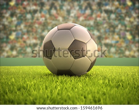Soccer ball on the field.  - stock photo