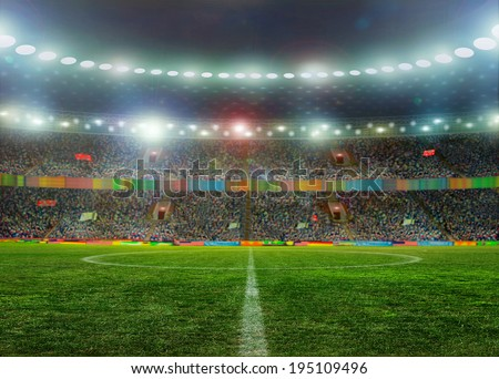 Soccer ball on the field of stadium with light  - stock photo