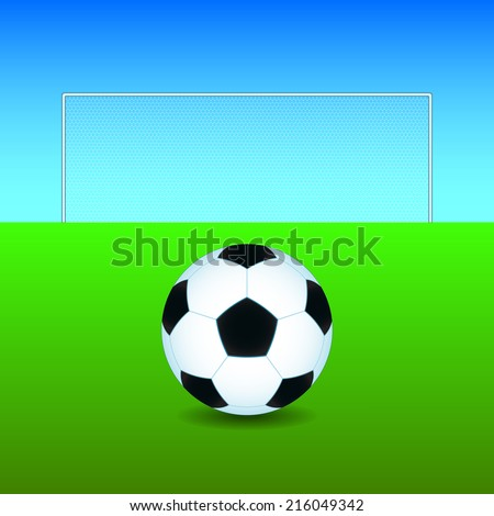 Soccer ball on the play field - stock photo