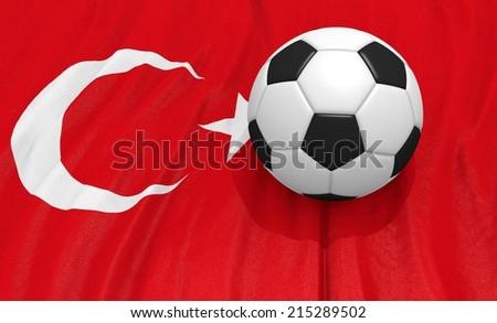 Soccer ball on the turkey flag - stock photo