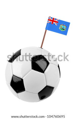 Soccer ball or football decorated with a small national flag of St. Helana on a tooth stick