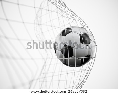 Soccer ball or football in the net isolated on white background - stock photo