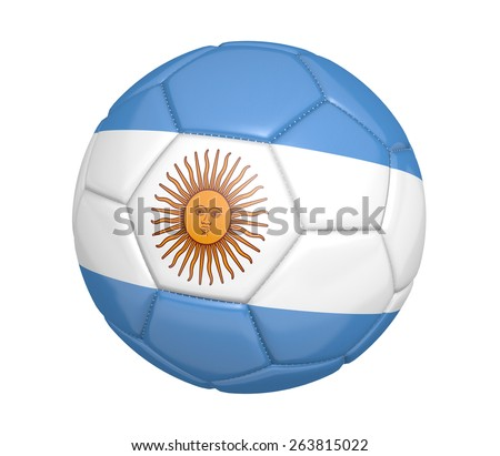 Soccer ball, or football, with the country flag of Argentina - stock photo