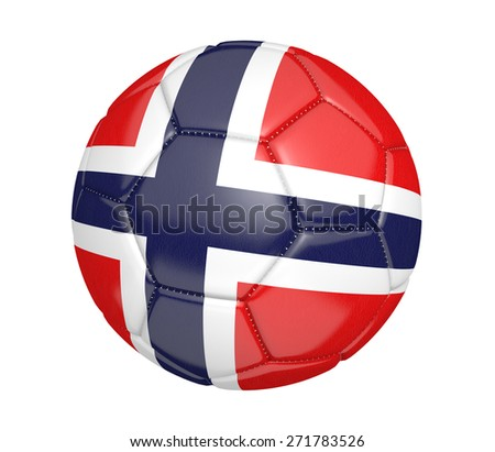 Soccer ball, or football, with the country flag of Norway - stock photo