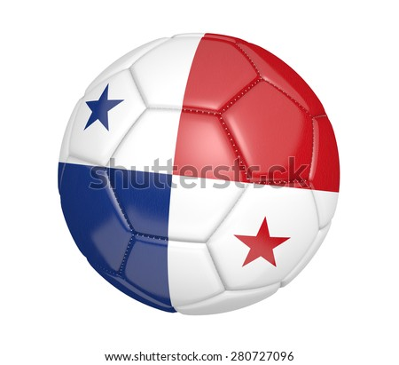 Soccer ball, or football, with the country flag of Panama - stock photo