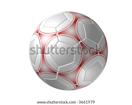 Soccer ball, red painting - stock photo