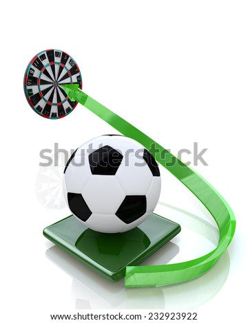 soccer ball sent to the target  - stock photo