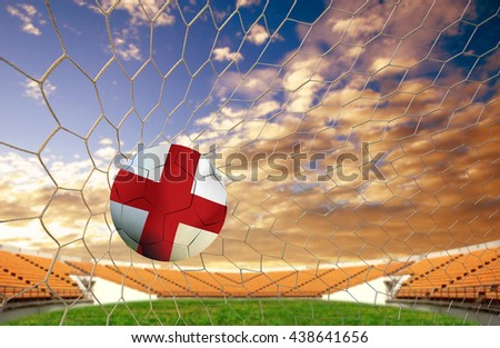 soccer ball team England into the goal Football on a white background. - stock photo