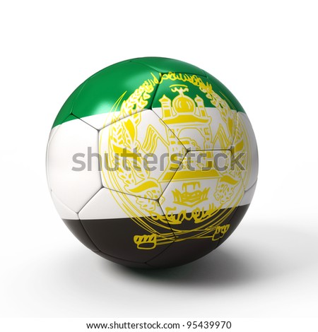 Soccer ball with Afghanistan flag isolated on white