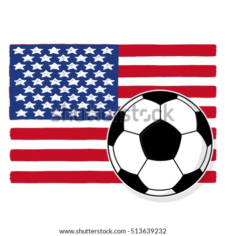 Soccer ball with American flag illustration; USA flag