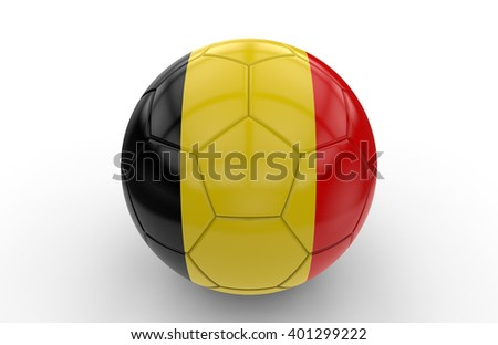 Soccer ball with belgian flag isolated on white background: 3d rendering - stock photo