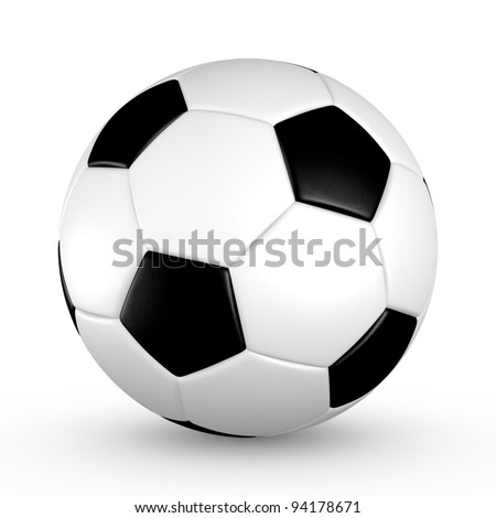 Soccer ball with black and white truncated icosahedron pattern - stock photo