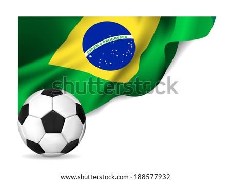 Soccer ball with brasil flag.  illustration - stock photo