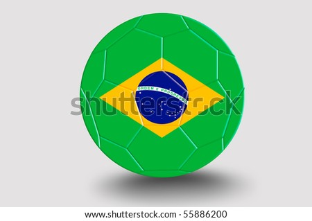 soccer ball with Brazil Flag Pattern