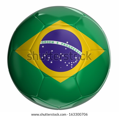 Soccer ball with brazilian flag  - stock photo