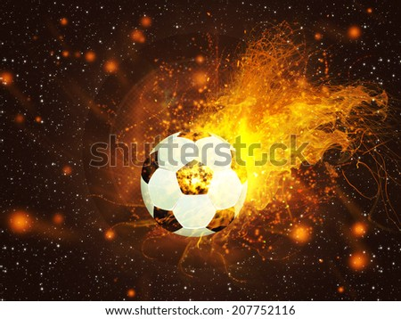 Soccer ball with bright flame flying over universe background. - stock photo