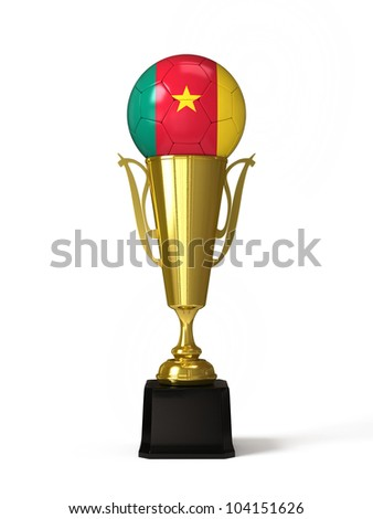 Soccer ball with Cameroonian flag, on golden trophy cup