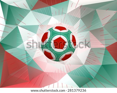 Soccer Ball With Colors of Mexican Flag Over Polygonal Dynamic Background - stock photo