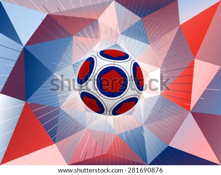 Soccer Ball With Colors of the France Flag Over Polygonal Dynamic Background - stock photo