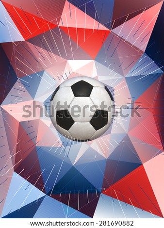 Soccer Ball With Colors of the French Flag Over Polygonal Dynamic Background - stock photo