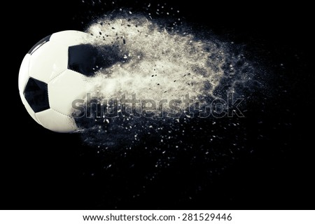 Soccer ball with dust - stock photo