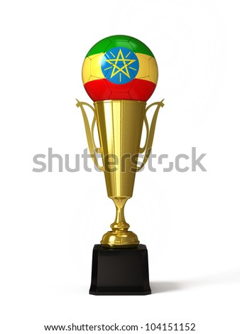 Soccer ball with Ethiopian flag, on golden trophy cup - stock photo
