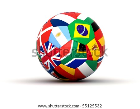 Soccer ball with flags - stock photo