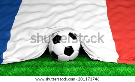 Soccer ball with French flag on football field closeup  - stock photo