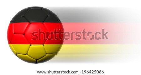 Soccer ball with German flag in motion isolated  - stock photo