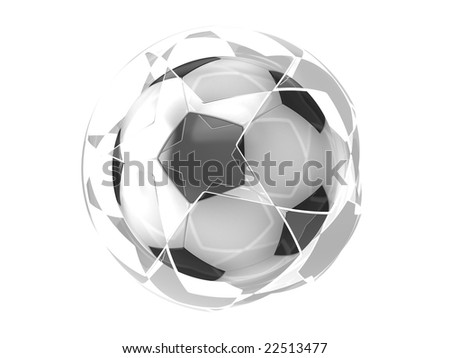 Soccer ball with glass stars on white background - stock photo