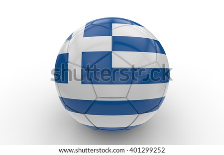 Soccer ball with greek flag isolated on white background: 3d rendering - stock photo
