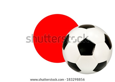 soccer ball with Japan flag background