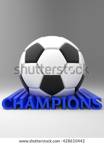 "Soccer ball with logo ""champions"". 3D illustration. 3D CG."