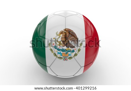 Soccer ball with mexican flag isolated on white background: 3d rendering - stock photo