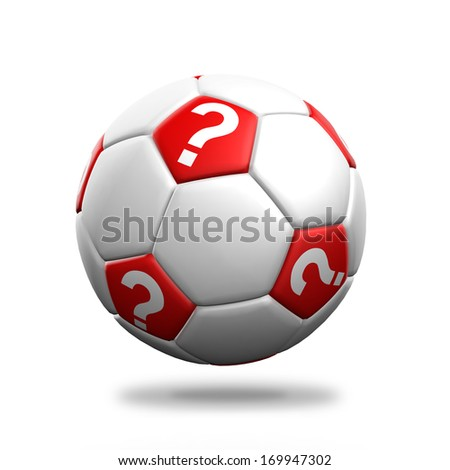 Soccer ball with question mark symbol isolated background.
