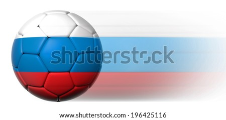 Soccer ball with Russian flag in motion isolated  - stock photo