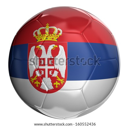 Soccer ball with Serbian flag  - stock photo