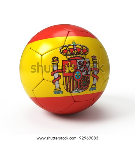 Soccer ball with Spanis flag isolated on white - stock photo