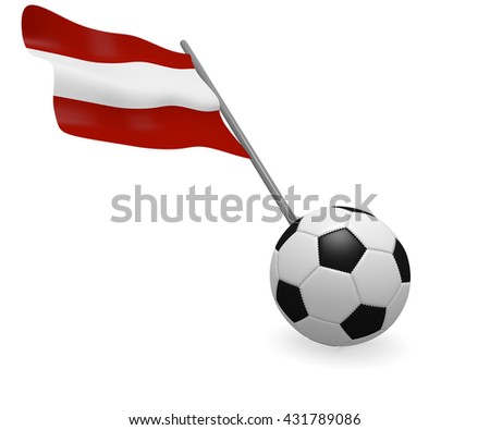 Soccer ball with the flag of Austria on a white background - stock photo