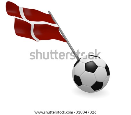Soccer ball with the flag of Denmark on a white background - stock photo