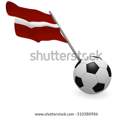 Soccer ball with the flag of Latvia on a white background - stock photo