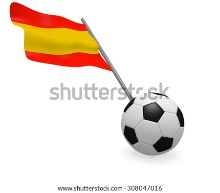 Soccer ball with the flag of Spain on a white background - stock photo