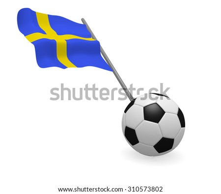 Soccer ball with the flag of Sweden on a white background - stock photo