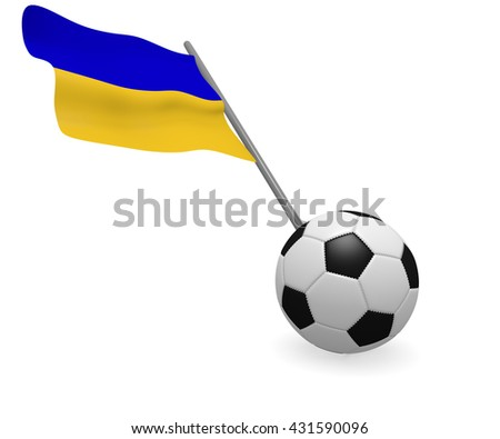 Soccer ball with the flag of the Ukraine on a white background - stock photo