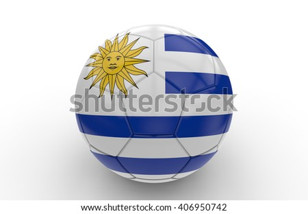 Soccer ball with Uruguay flag isolated on white background; 3d rendering